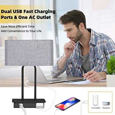Set of 2 Touch Control 3-Way Dimmable Table Lamp with 2 USB Ports &1 AC Outlet, Modern Bedside Nightstand Lamps with Fabr