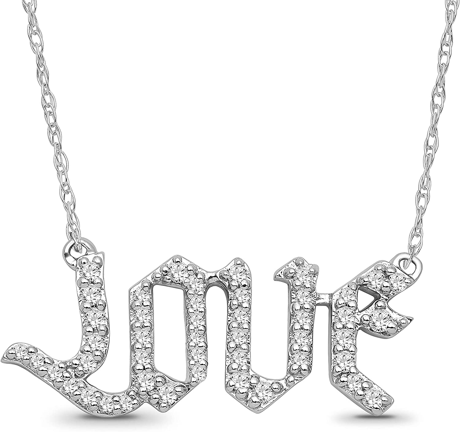 Sterling Fixed price for sale Silver Diamond Love Pendant Necklace cttw Max 52% OFF 4 I-J Col 1