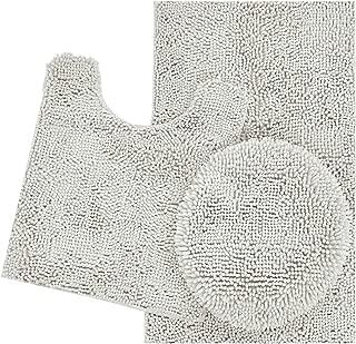 ITSOFT 3pc Non-Slip Shaggy Chenille Bathroom Mat Set, Includes U-Shaped Contour Toilet Mat, Bath Mat and Toilet Lid Cover, Machine Washable, Light Gray