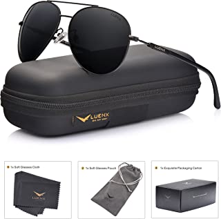 a25fa2e413 LUENX Aviator Sunglasses Mens Women Polarized Black Lens Black Metal Frame  Dark 60mm with Case -