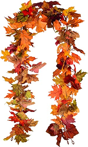 Lvydec 2 Pack Fall Maple Garland - 5.9ft/Piece Artificial Fall Foliage Garland Colorful Autumn Decor for Home Wedding...