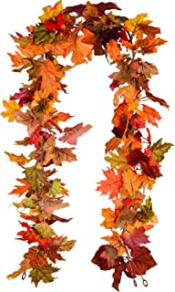 Lvydec 2 Pack Fall Maple Garland – 5.9ft/Piece Artificial Fall Foliage Garland..