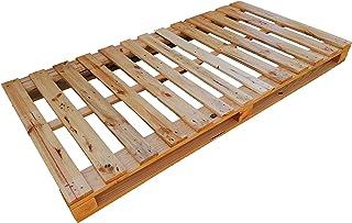 Dydaya Home Cama & Somier de palets para colchon de 90 cm por 180 Color Madera Barnizada Bases de pallets