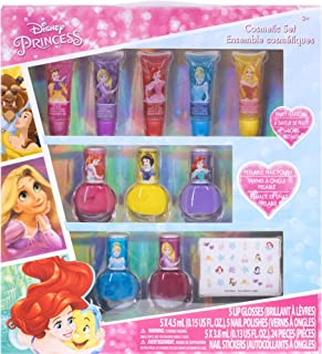Best Townley Girl Disney Princess Super Sparkly Cosmetic Set with Lip Gloss, Nail Polish and Nail Stickers - 11 Pack Review
