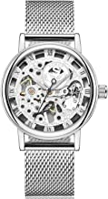 SEWOR Dress Royal Hollow Carving Mechanical Hand Wind Watch with Mesh Steel Band Slim Design