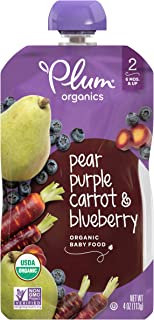 Plum Organics Stage 2 Organic Baby Food, Pear, Purple Carrot & Blueberry, 4 Ounce Pouch, Pack of 12 (Packaging May Vary)
