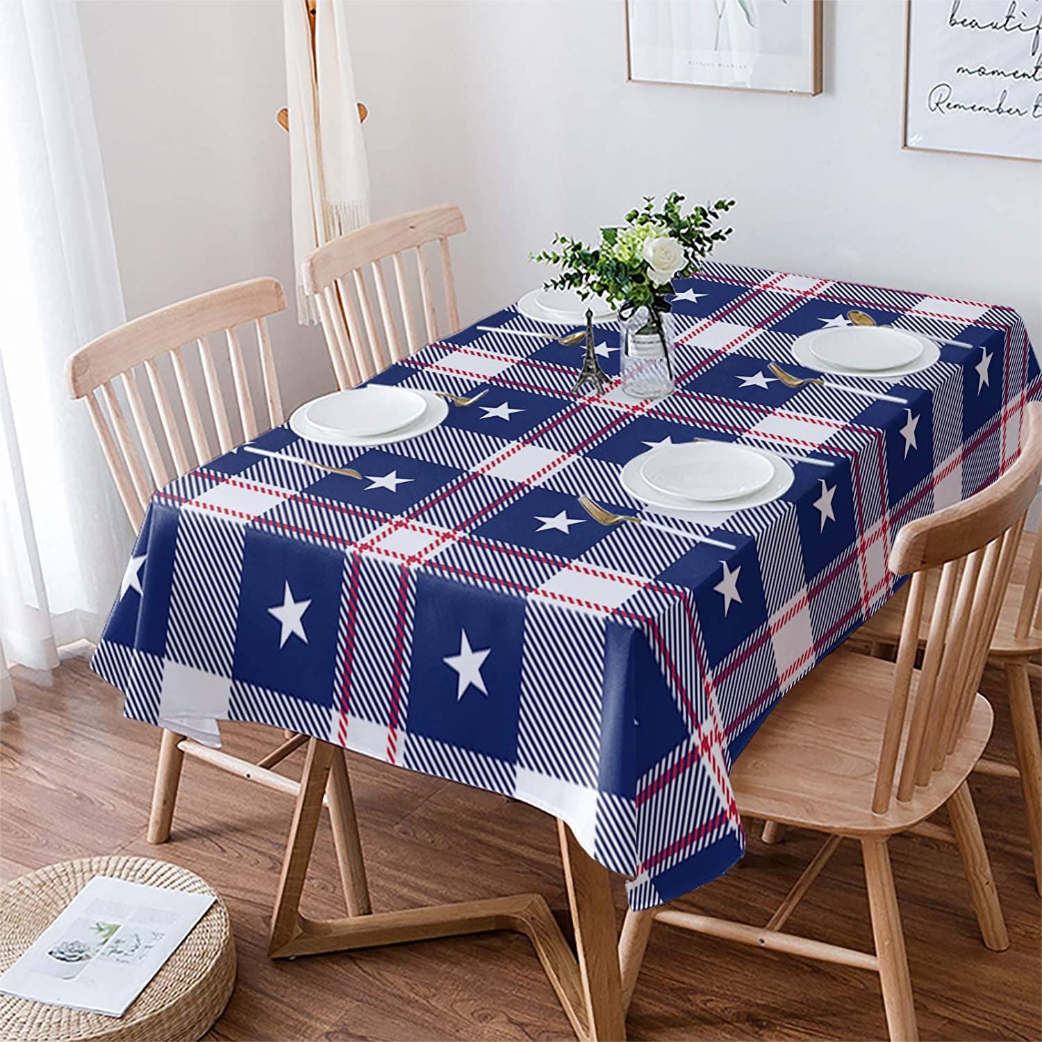 Fahome Max 74% OFF Table Cloth Wrinkle Oklahoma City Mall Free Dining Rectangle Cover 54