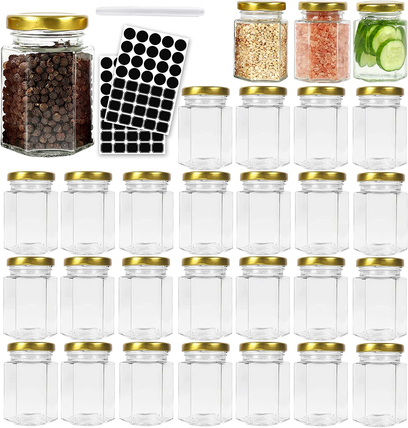 30 Pack 4 oz Popular brand in the world Hexagon Glass Canning with Phoenix Mall Jars M ml 120 Lids Gold