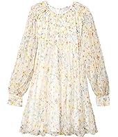 Long Sleeve Splash Flowers Silk Dress with Frills (Toddler/Little Kids/Big Kids)