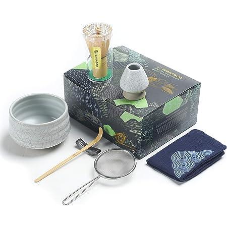 TEANAGOO Japanese Tea Set, Matcha Whisk Set, Matcha Bowl Bamboo Matcha Whisk (chasen), Scoop (chashaku), Matcha Whisk Holder, Tea Making Kit. MSB-5, Matcha Green Tea Powder Kit. Matcha Tea Kit