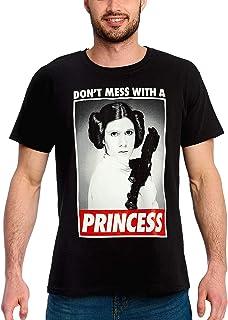 Camiseta para Hombre de Star Wars Leia No ensucies con una Princesa Algodón Negro