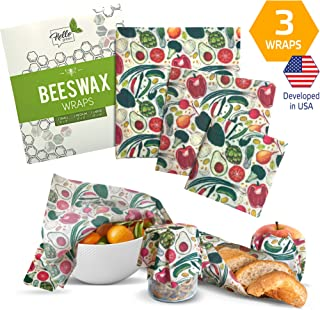 Organic Reusable Beeswax Food Wraps by Hello Green, Assorted Of 3 Sizes, Washable, Eco Friendly Food Covers, Plastic Free ...