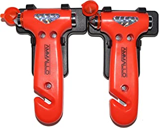 Ammallo 2 Pack Car Safety Hammer with Carbide Tip - Window Punch - Seat Belt Cutter - Emergency Vehicle Escape Tool - Auto...