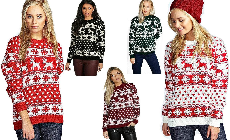 Generation Fashion New Unisex Ladies Women Knitted Reindeer Rudolph Novelty Christmas Xmas Jumper Top Sweater UK Sizes