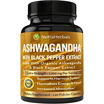 Organic Ashwagandha Root Powder 1200mg - 120 Pullulan Organic Capsules - Ashwaganda Supplement – Black Pepper Extract for Increased Absorption