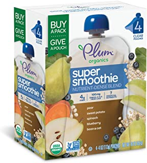 Sponsored Ad - Plum Organics Super Smoothie, Blueberry, Pear, Sweet Potato & Spinach with Beans & Oats, 4 Ounce (Pack of 24)