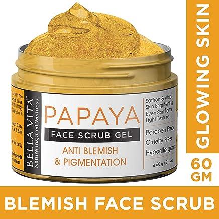 Bella Vita Organic Papaya Face Scrub For Skin Glow, Pigmentation and Blemish Removal, 60 g