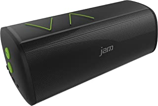 JAM Thrill Wireless Stereo Speaker, Built-In Speakerphone, Splash-Proof, Perfect for Pool Parties, Voice Prompts, Size of Water Bottle, Deep Bass, Crisp Tones, Mega Volume, HX-P320GR Green