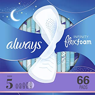 Always Infinity Feminine Pads with Wings for Women, Size 5, Extra Heavy Overnight, Unscented, 22 Count - Pack of 3 (66 Count Total)