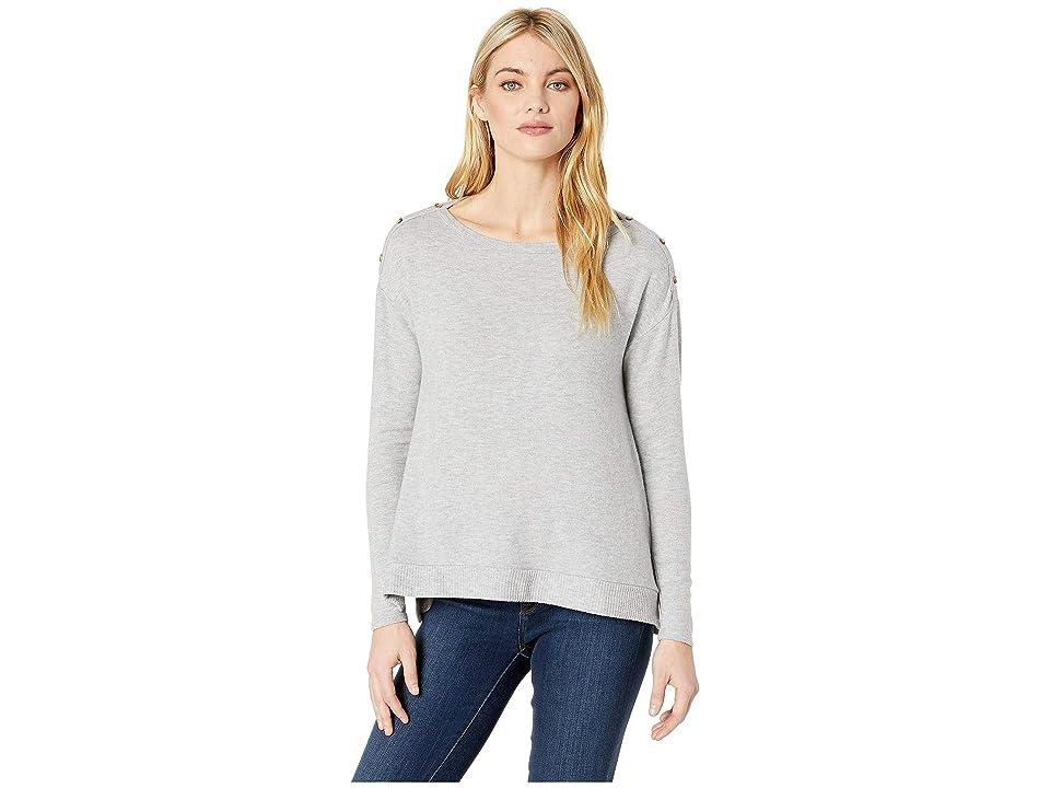 Three Dots Brushed Sweater Boxy Long Sleeve Top (Heather Gray) Women