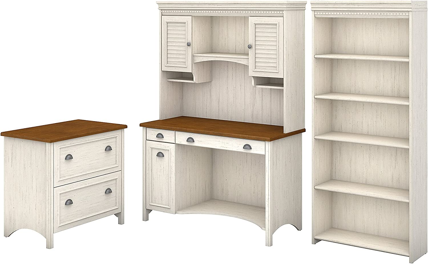 Bush Ranking TOP6 Fees free!! Furniture Fairview Computer Desk with Bookcase Hutch L and