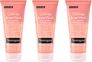 Neutrogena Oil Free Pink Grapefruit Acne Face Wash with Vitamin C, Pack of 3