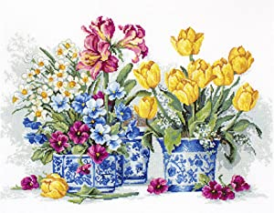 Counted Cross Stitch kit Spring Garden Luca-s B2385 Size: 14.83x10.17 in / 38x26 cm Still Life Flowers Embroidery xstitch DIY Kits