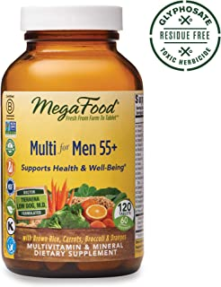 MegaFood, Multi for Men 55+, Supports Optimal Health and Wellbeing, Multivitamin and Mineral Supplement, Gluten Free, Vegetarian, 120 Tablets (60 Servings)
