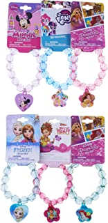 Mozlly Disney Faceted Beaded Bracelet Plastic Character Charm Cute Girly Arm Accessory in Pink, Blue, Purple - Heart Flower Beads Assorted Whimsical Jewelry Gift for Little Girls (6 Items)