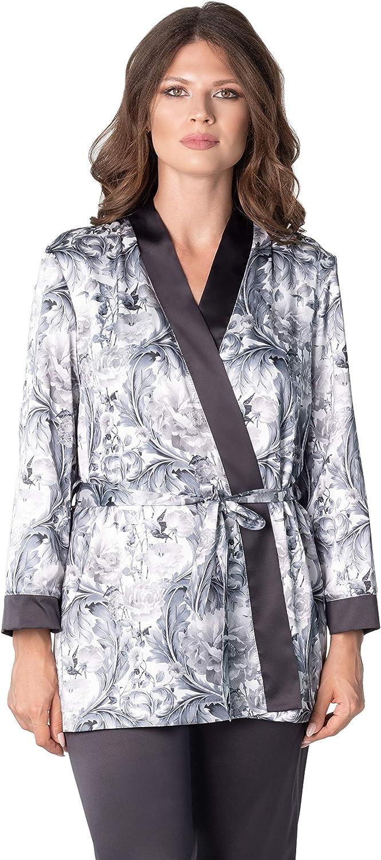 De La Ville Women's Silky Satin Short Robe Full Terry Cotton Lining Bathrobe with Long Sleeves