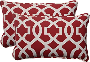 """Pillow Perfect Outdoor/Indoor New Throw Pillows, 11.5"""" x 18.5"""", Geo Red, 2 Pack"""
