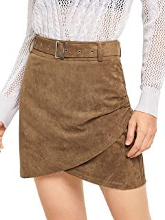 SheIn Women's Casual Solid Overlap Bodycon Faux Suede A-Line Short Skirt with Belt