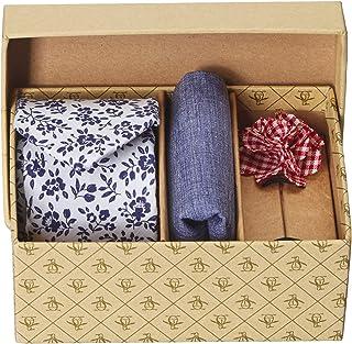 Original Penguin 男式 3 件套花卉领带,口袋方形和翻领别针盒,白色,均码