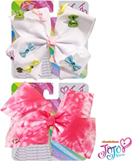 Jojo Siwa Bow for Girls Bundle, 2 Bows and 3 Pack Bracelet - White Hair Bow with Colorful Mini Bows and Pink/White Tie Dye Hair Bow