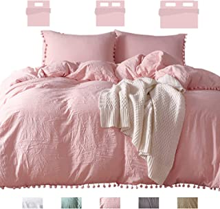 sanatty Duvet Cover Set-Twin Quilt Cover with Zipper Ties Pompom & Envelope Pillowcases Pure Color Simple Ultra Soft Lightweight(Light Pink, Twin,2pcs)