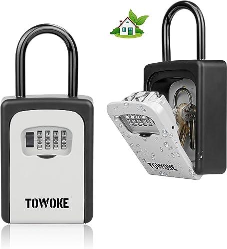 TOWOKE Key Lock Box For Outside - Weatherproof Lock box For House Key, Resettable 4-Digit Combination Lockbox, Key St...
