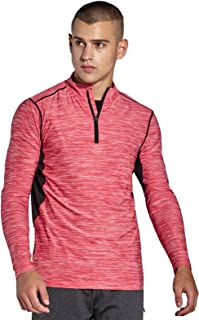 Mens 1/4 Zip Tops - QUICK DRY ACTIVEWEAR - Sports Training Workout Running Long Sleeve T-Shirts MC03T