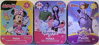 Trio of Mini Puzzles in Collectible Tin Cases Bundle: Sofia The First and Minnie and Vampirina in Illustrated Tin Cases - ...