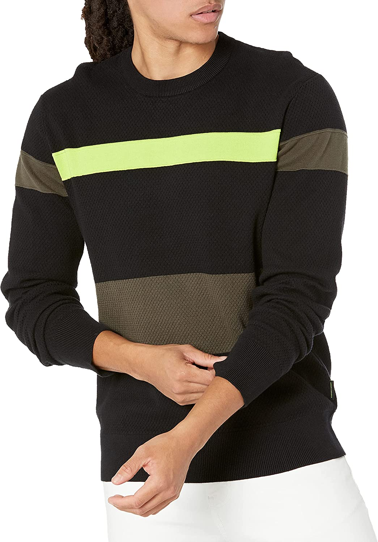 AX Armani Exchange Men's Colorblock Neon Pullover Sweater