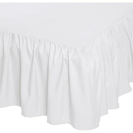 "Solid Ruffle Gathered Bed Skirt 630 TC Cotton Split Corner Length 17/"" 18/"" Inch"