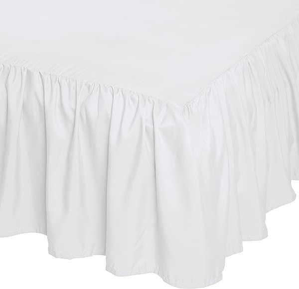 AmazonBasics Ruffled Bed Skirt 16 Inch Skirt Length Queen Bright White