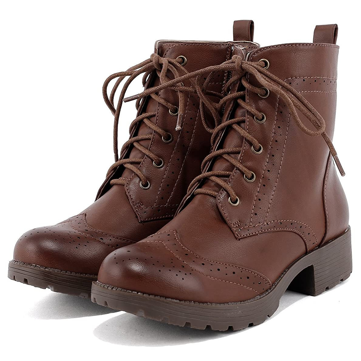 兵器庫悪夢ブランド名[フェリシア フェリーチェ] ウイングチップの編み上げショートブーツ 23.5cm ブラウン茶色
