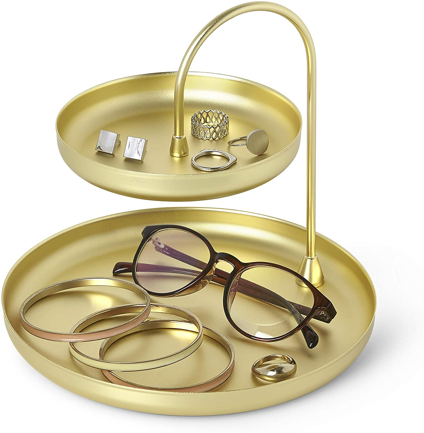 Umbra Poise Large Jewelry Tray, Double Jewelry Tray, Attractive Jewelry Storage You Can Leave Out, Two-Tiered Jewelry Tray, Matte Brass Finish : Clothing, Shoes & Jewelry