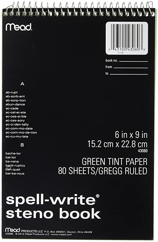 Spell-Write Steno Book, Gregg Rule, 6 x 9, Green, 80 Sheets/Pad (並行輸入品)
