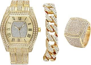 Bling-ed Out Gold Barrel Shape Hip Hop Watch w/Cuban Bracelet and Bling Ring - L0492GCuban3Set