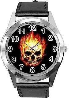 GBB09 Reloj de pulsera para niño, estilo moderno, diseño de esqueleto Marvel de Ghost Rider
