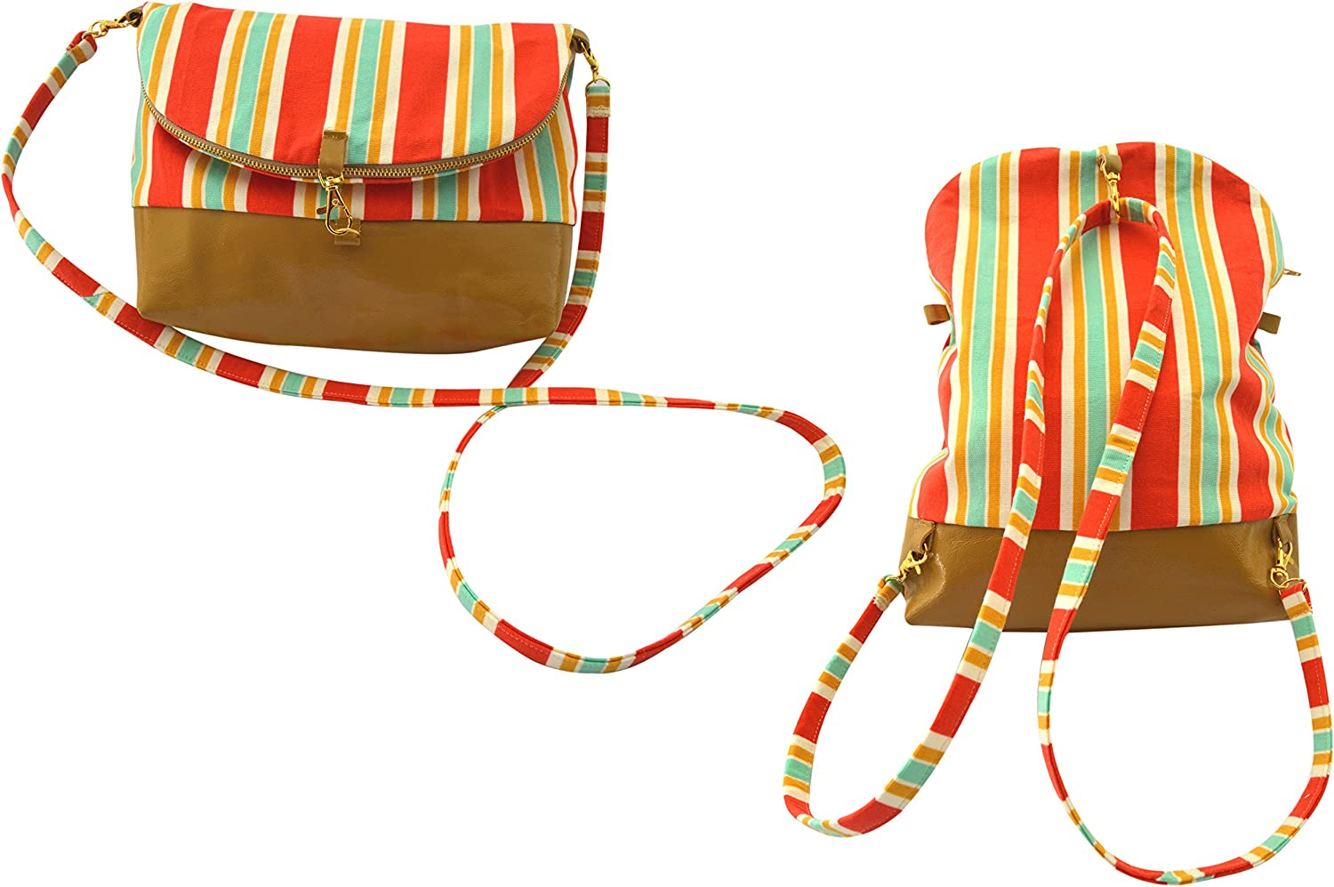 Congreenible Backpack Crossbody Bags Genuine Leather  Canvas Day Bag, Purse