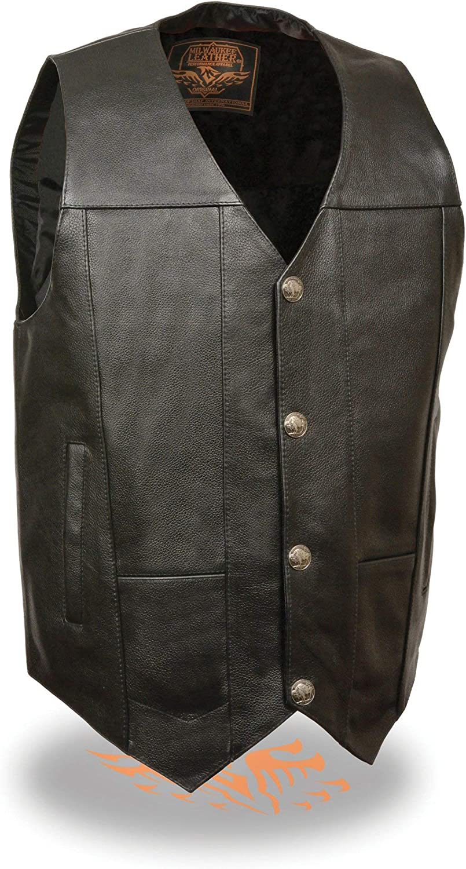Men's Buffalo Snap Plain Side Leather Vest Black (5X-Large)
