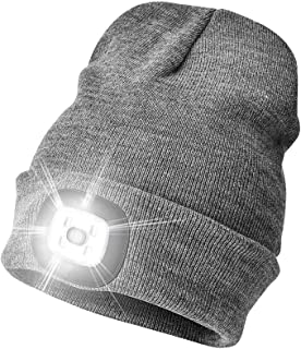 FENZE LED Beanie Hat with Light, USB Rechargeable, Headlamp Cap Adjustable Brightness, Camping Accessories, Outdoor