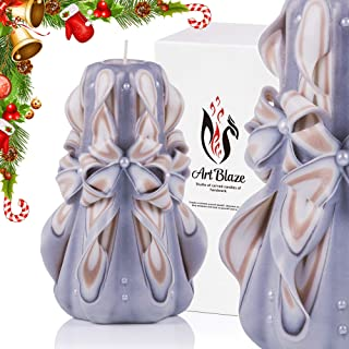Christmas Gift Candles - Decorative Gift Carved Candles - Birthday Gifts for Women - Gifts for Mom - Interior Decoration - Gray